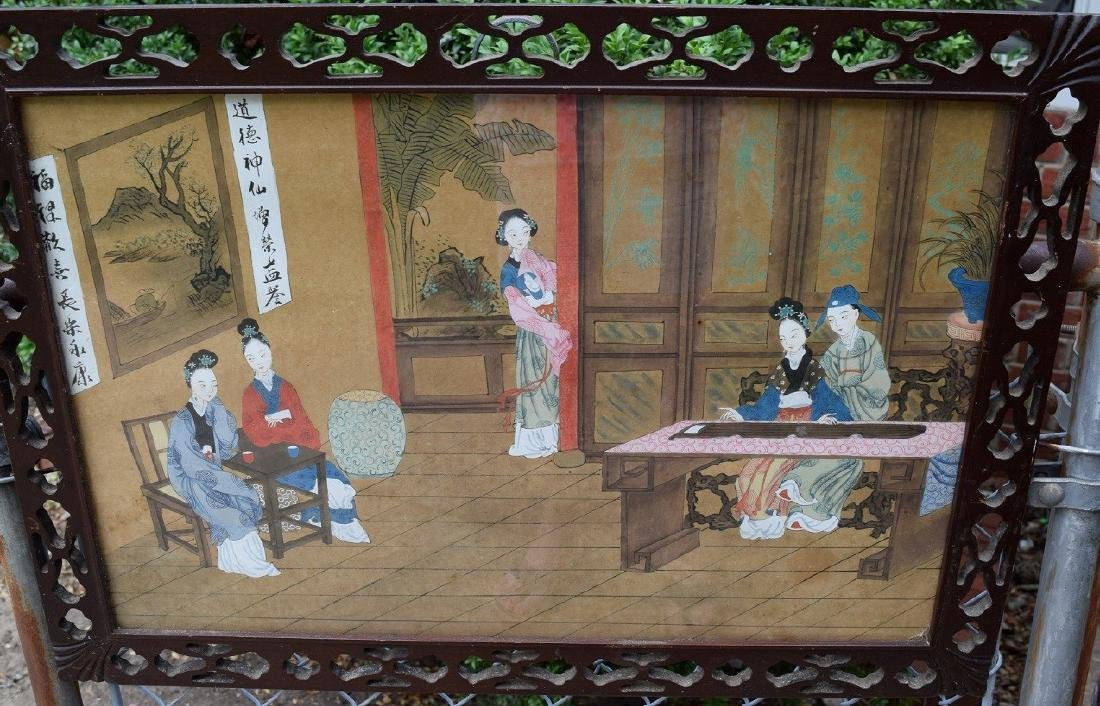 Antique Chinese Hardwood Framed Painting
