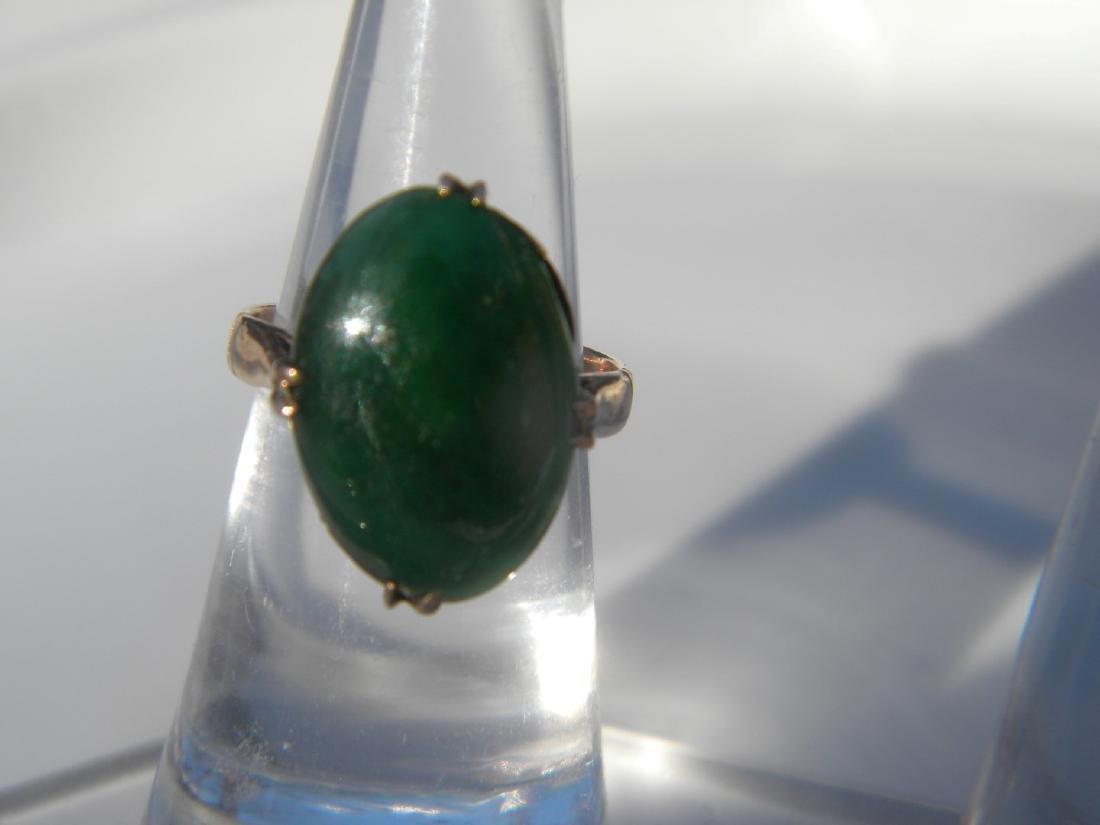 Antique Green Jadeite 14K Gold Ring