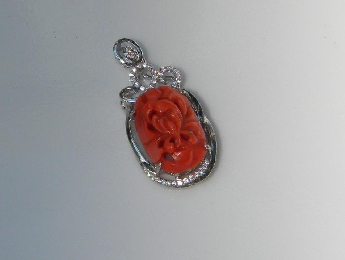 Antique Carved Red Coral Flower Pendant