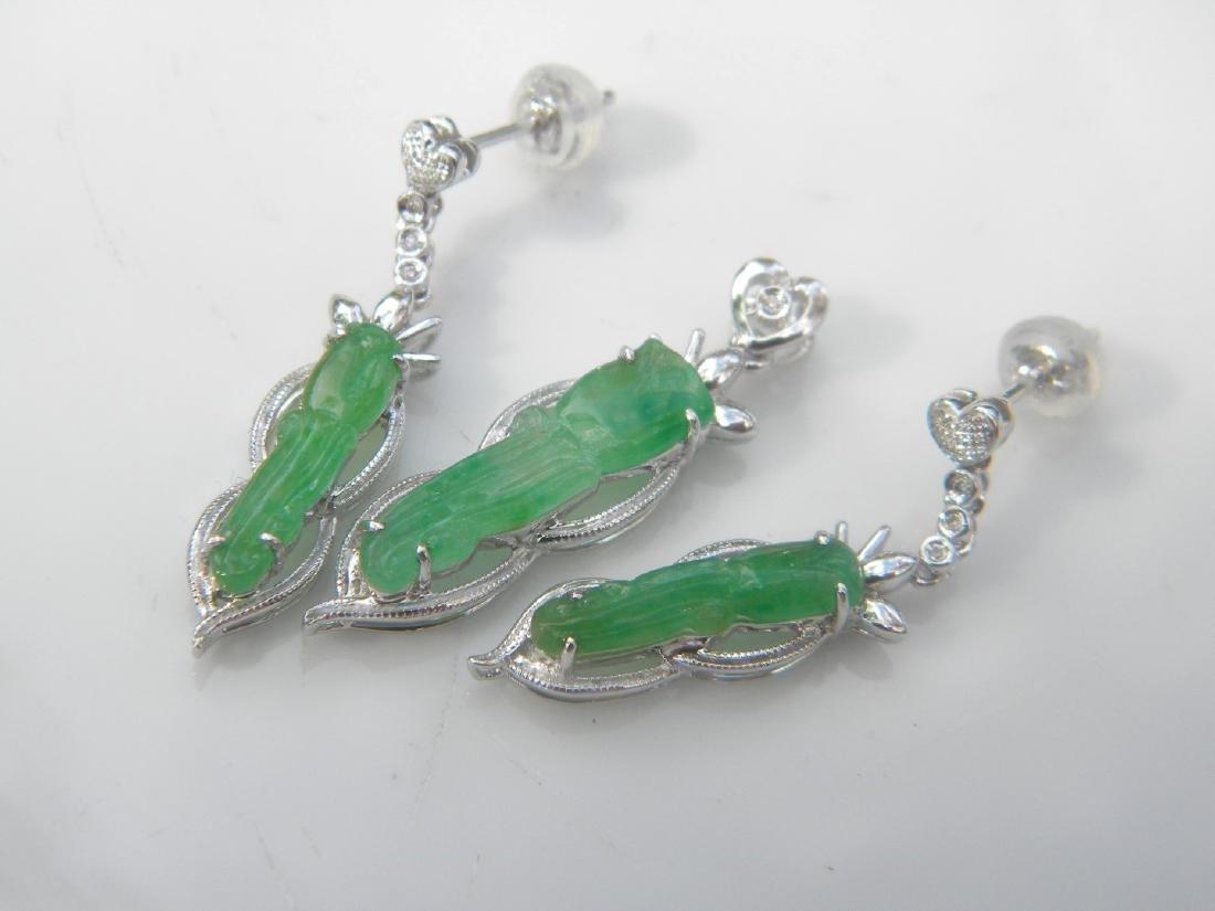 Set of 18K Gold Diamond Green Jadeite Earrings pendant