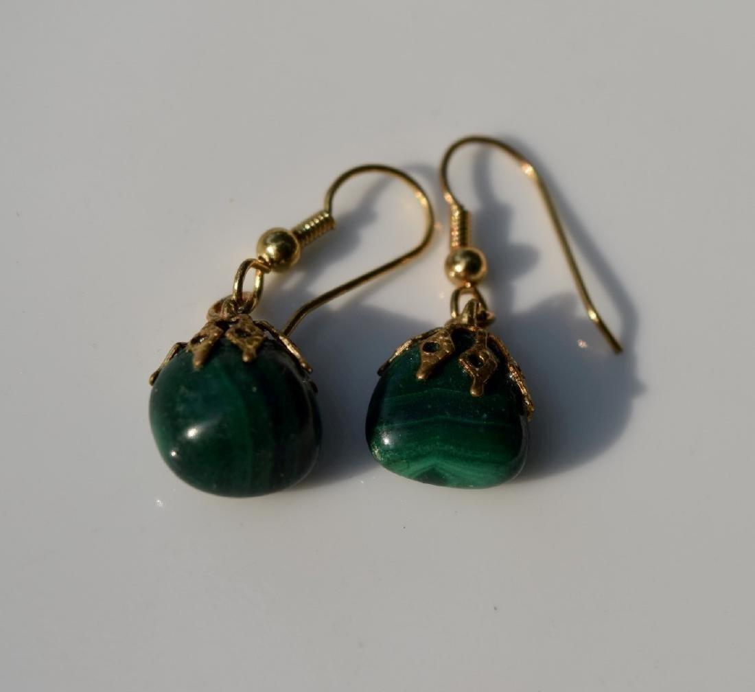 Pair of Antique Chinese Malachite Earrings