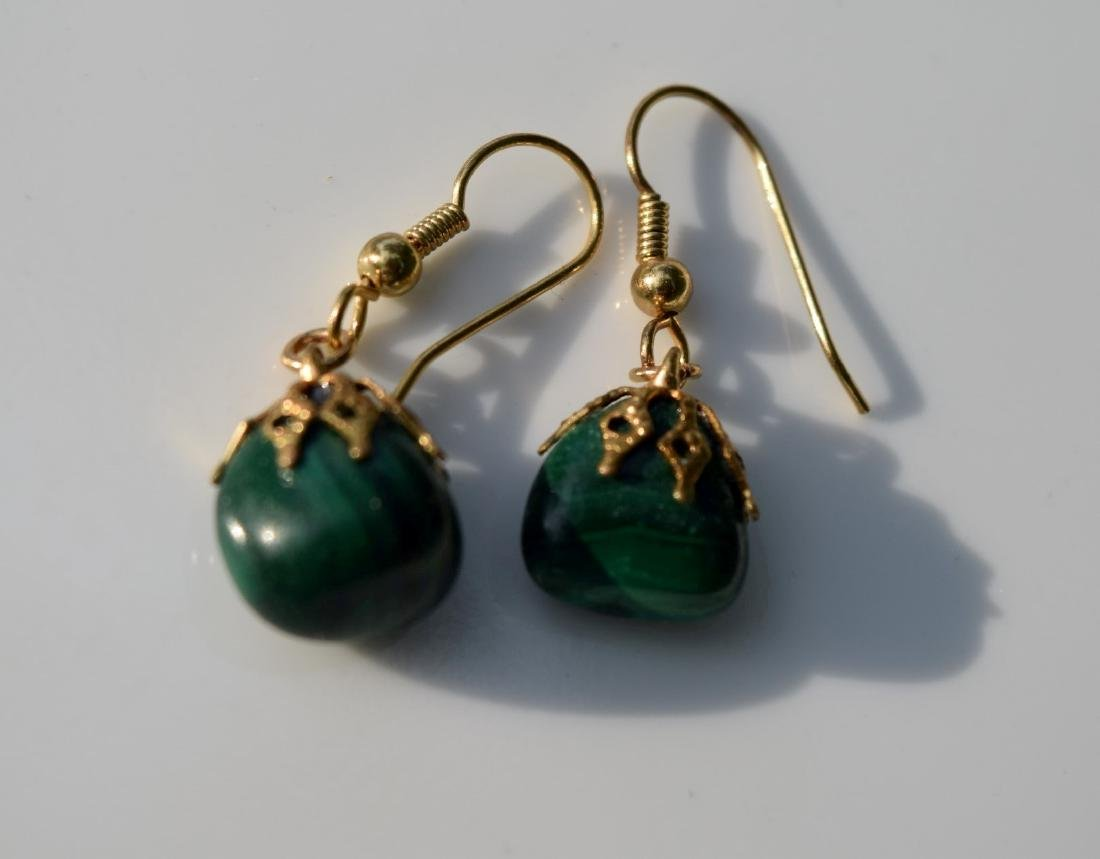 Pair of Antique Chinese Malachite Earrings - 2