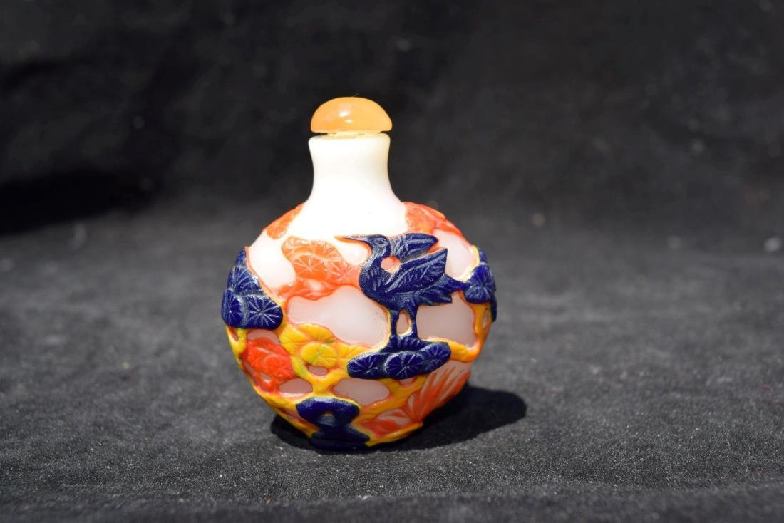 Antique Chinese Peking Glass Snuff Bottle - 3