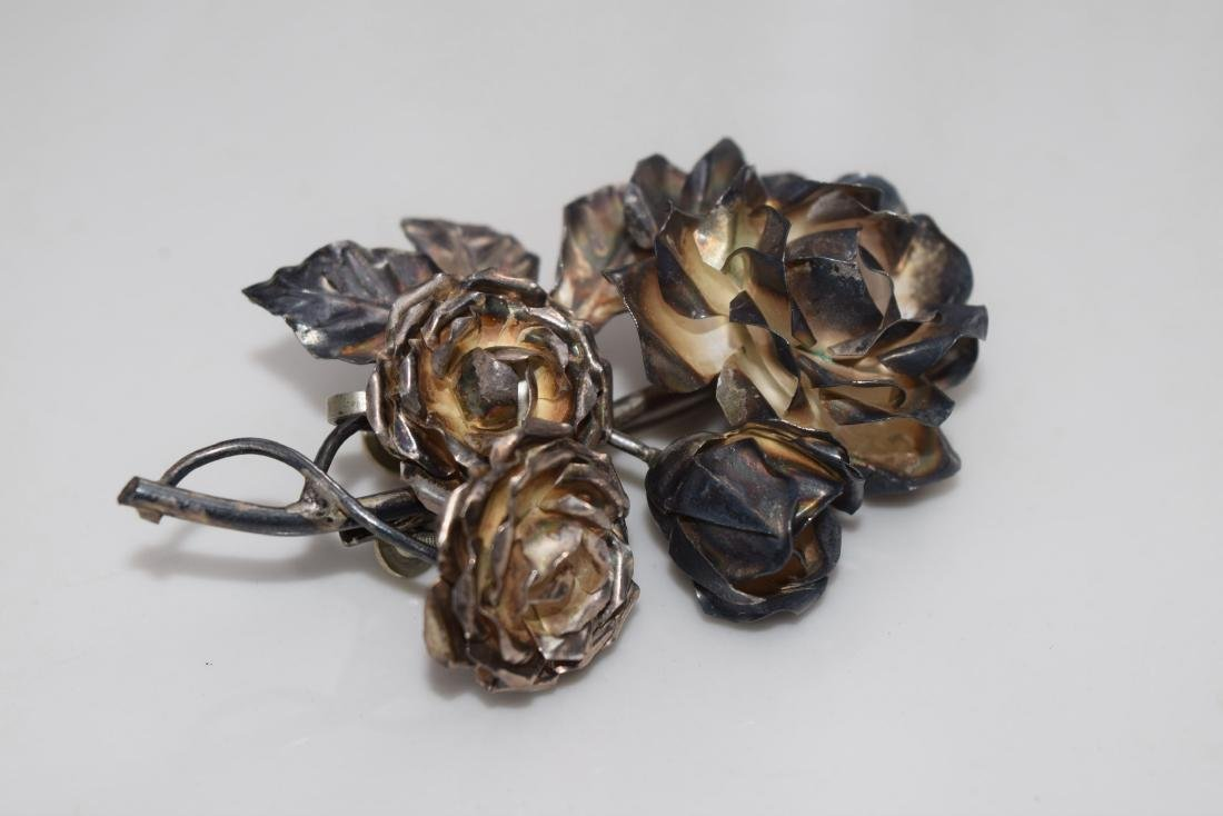 Set of Flower Brooch Pin and Earrings