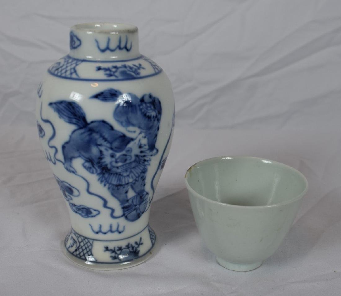 Pair of Blue and White vase and White Glazed Cup