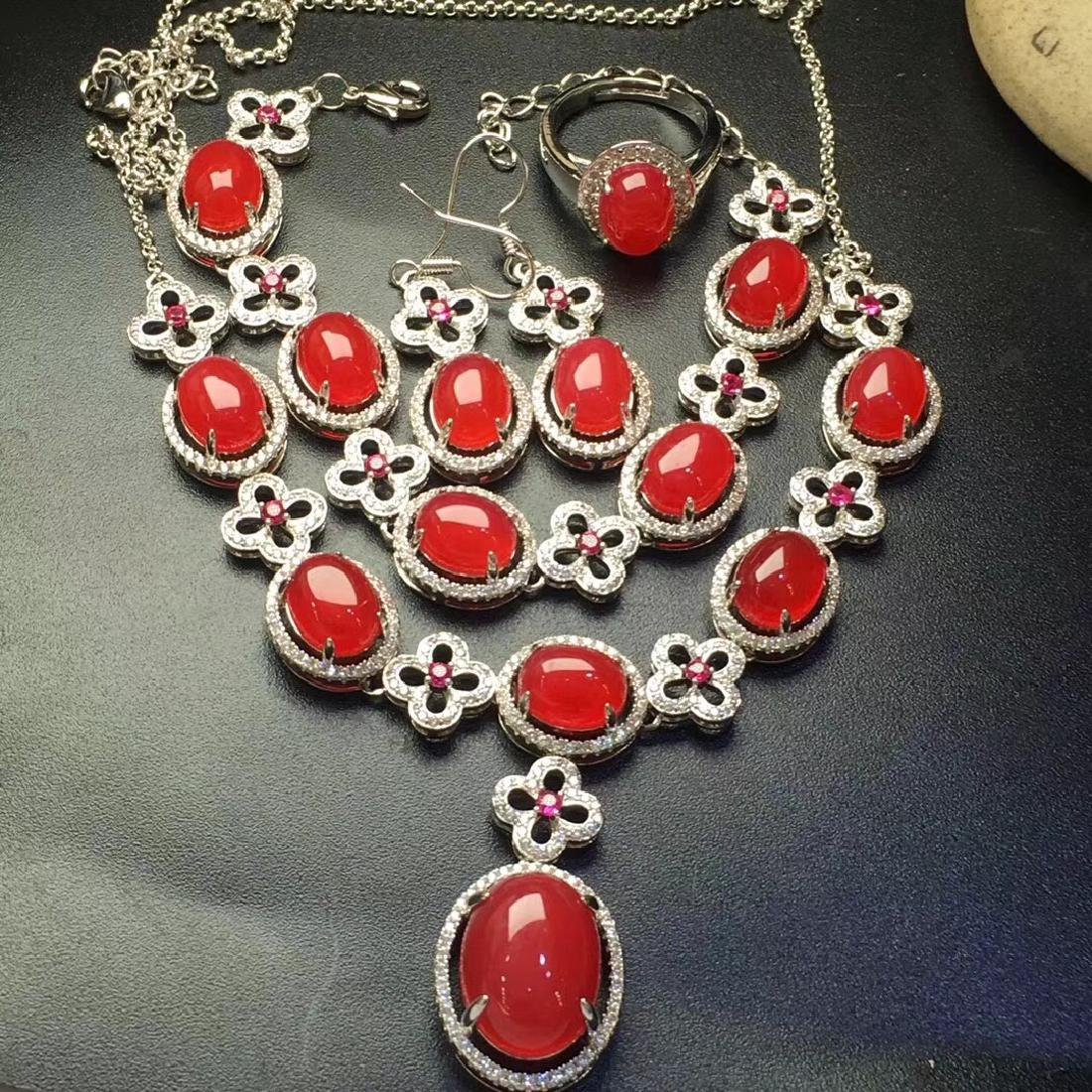 Set of Natural Red Stone Bracelet, Necklace and Ring