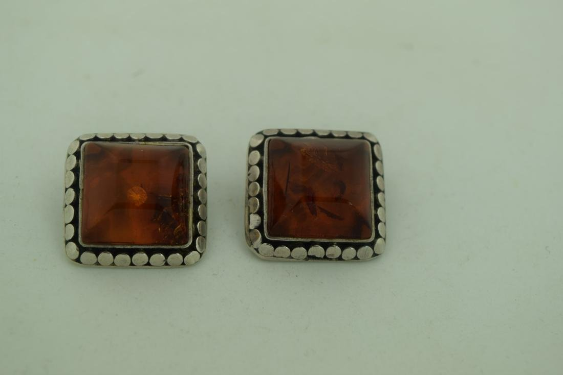 Pair of Amber Silver Earrings