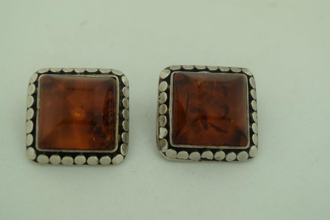 Pair of Amber Silver Earrings - 2