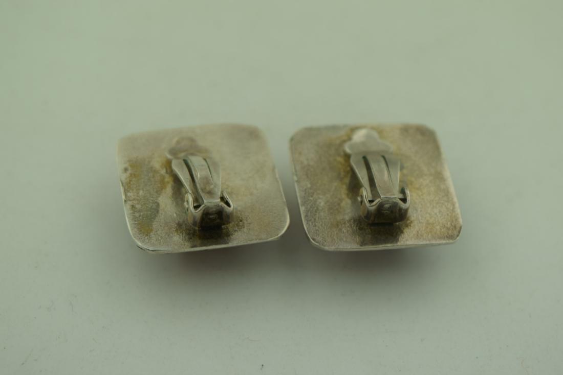 Pair of Amber Silver Earrings - 3