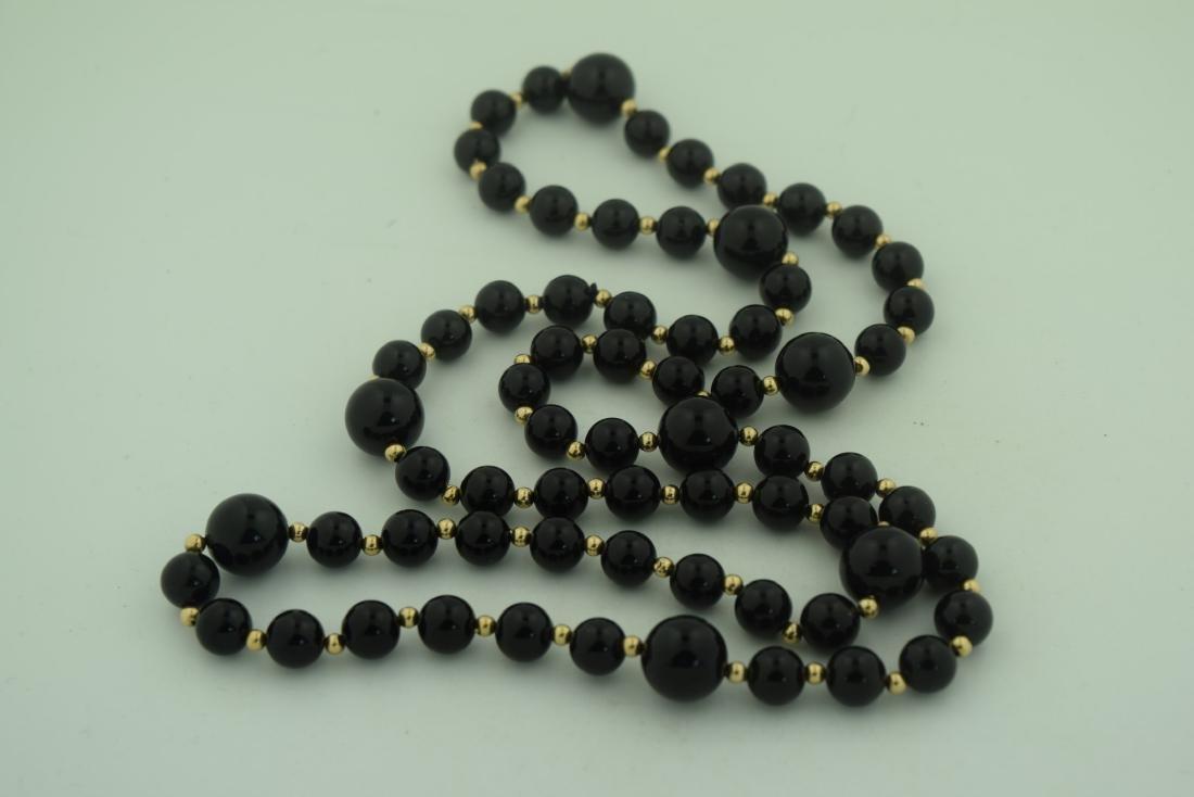 14K Gold Bead Black Onyx Beads Necklace