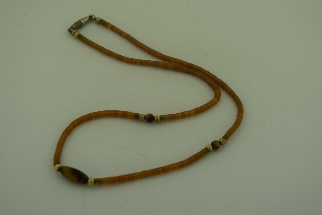 Vintage Amber Tiger Eye Bead Necklace - 5