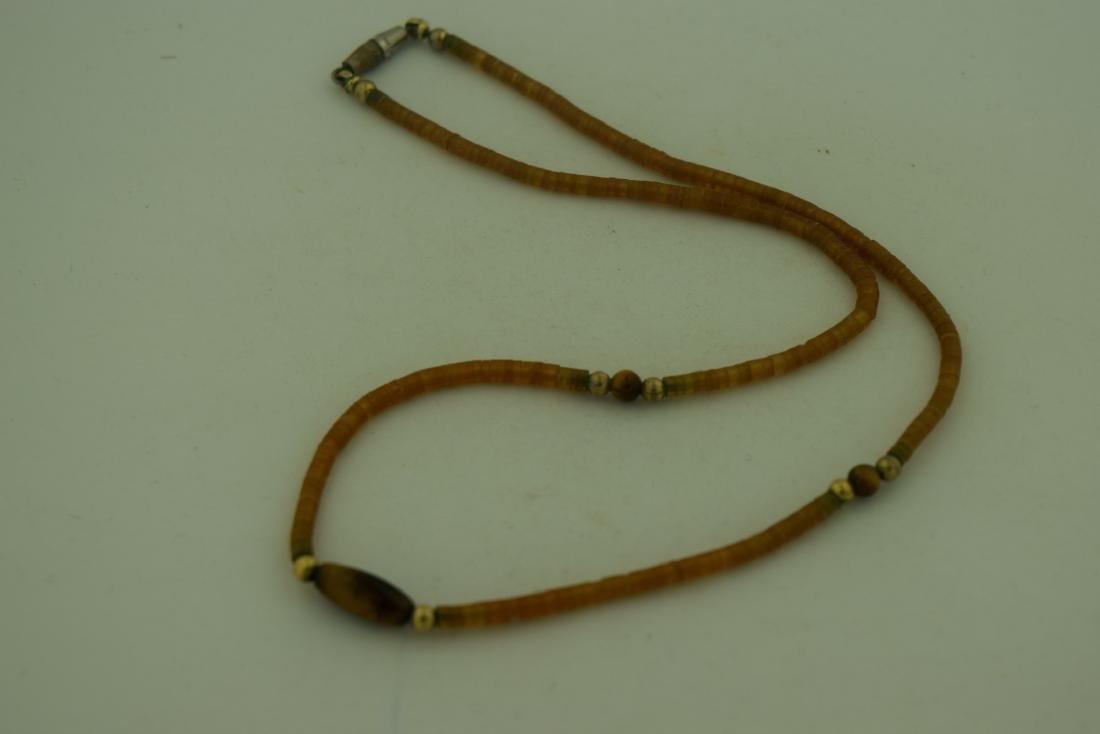 Vintage Amber Tiger Eye Bead Necklace - 2