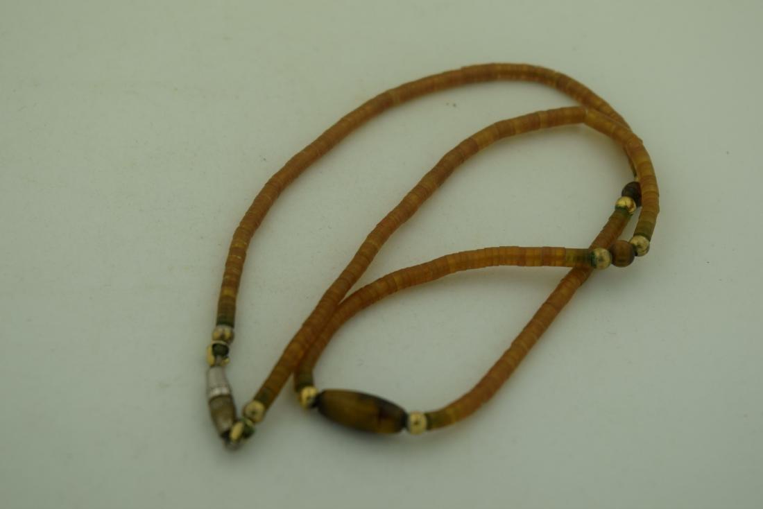 Vintage Amber Tiger Eye Bead Necklace - 3