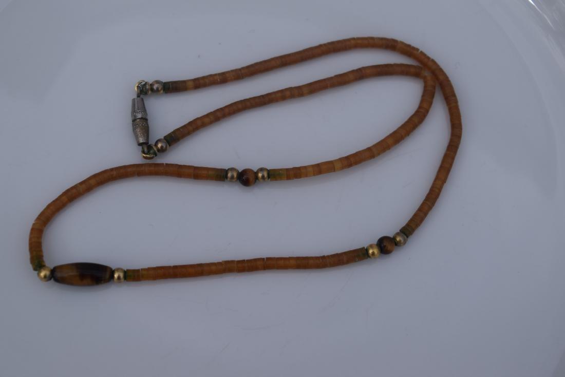 Vintage Amber Tiger Eye Bead Necklace - 4