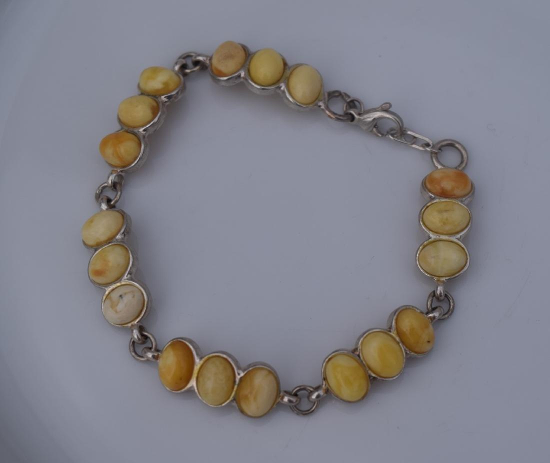 Vintage Butter Scotch Amber Silver Bracelet