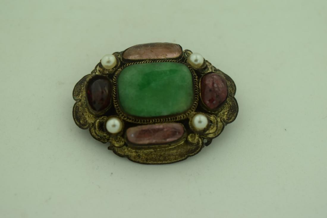 Antique Chinese Jadeite Tourmaline Brooch Pin