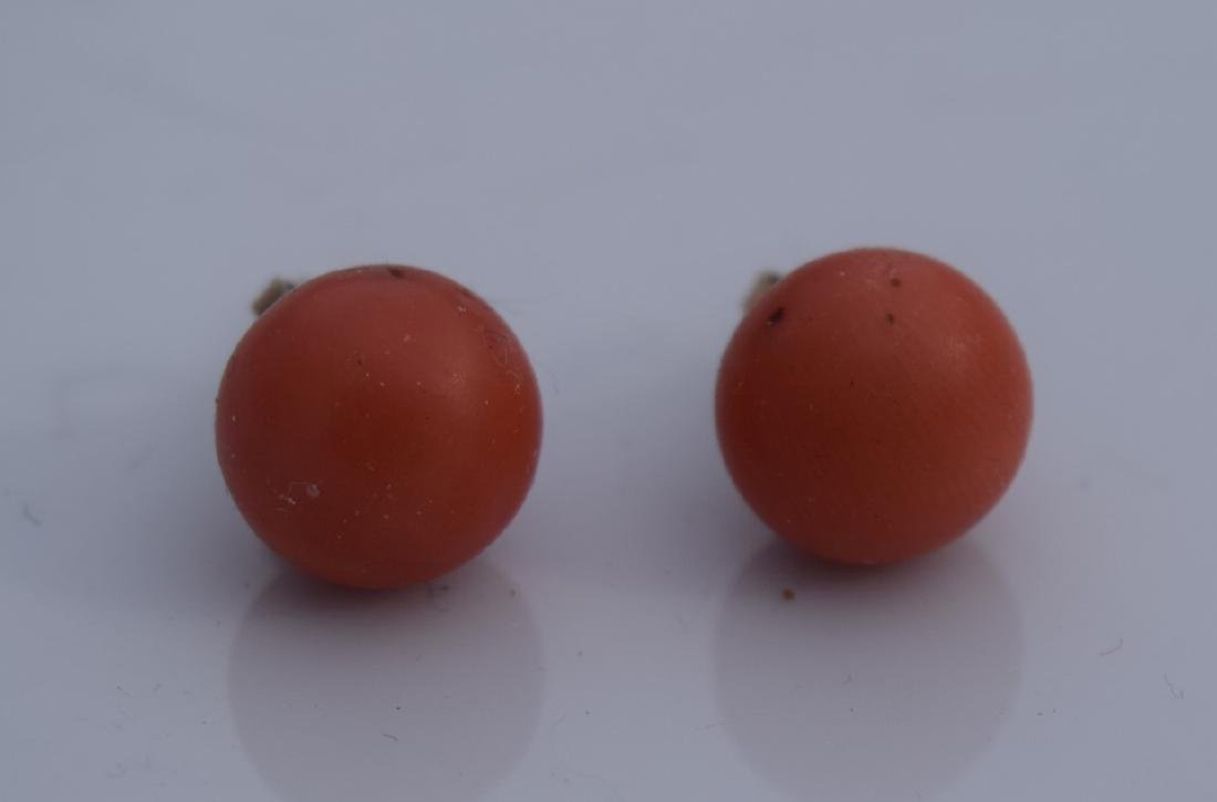 Pair of 14K Gold Red Coral Earrings