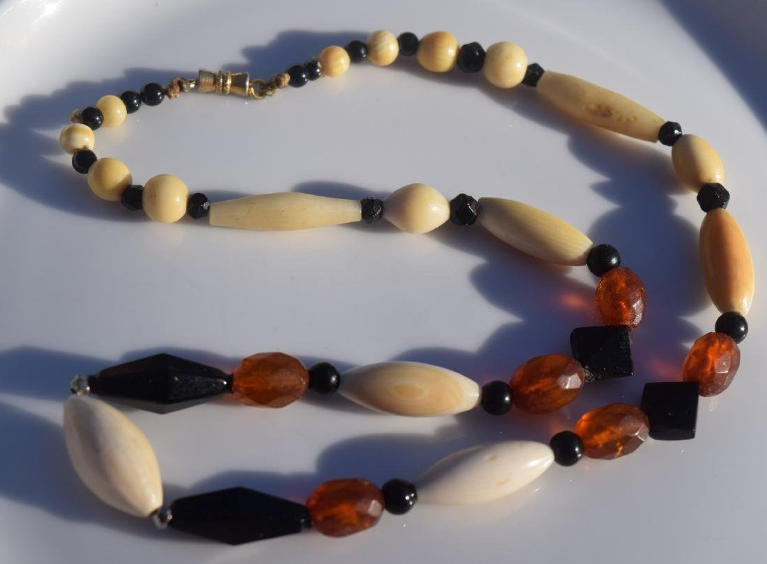 Vintage Bone and Amber Necklace