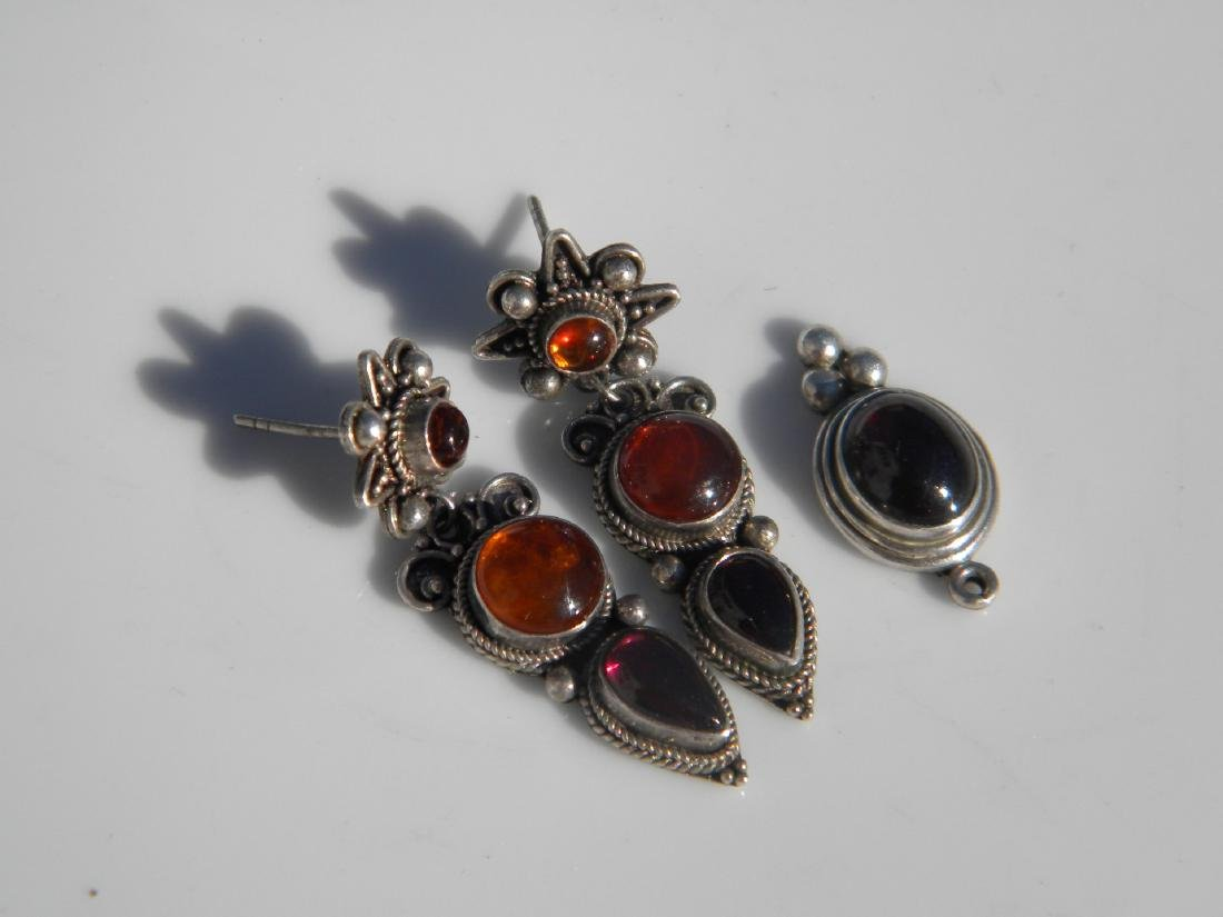 Set of Sterling Amber Earrings and Pendant