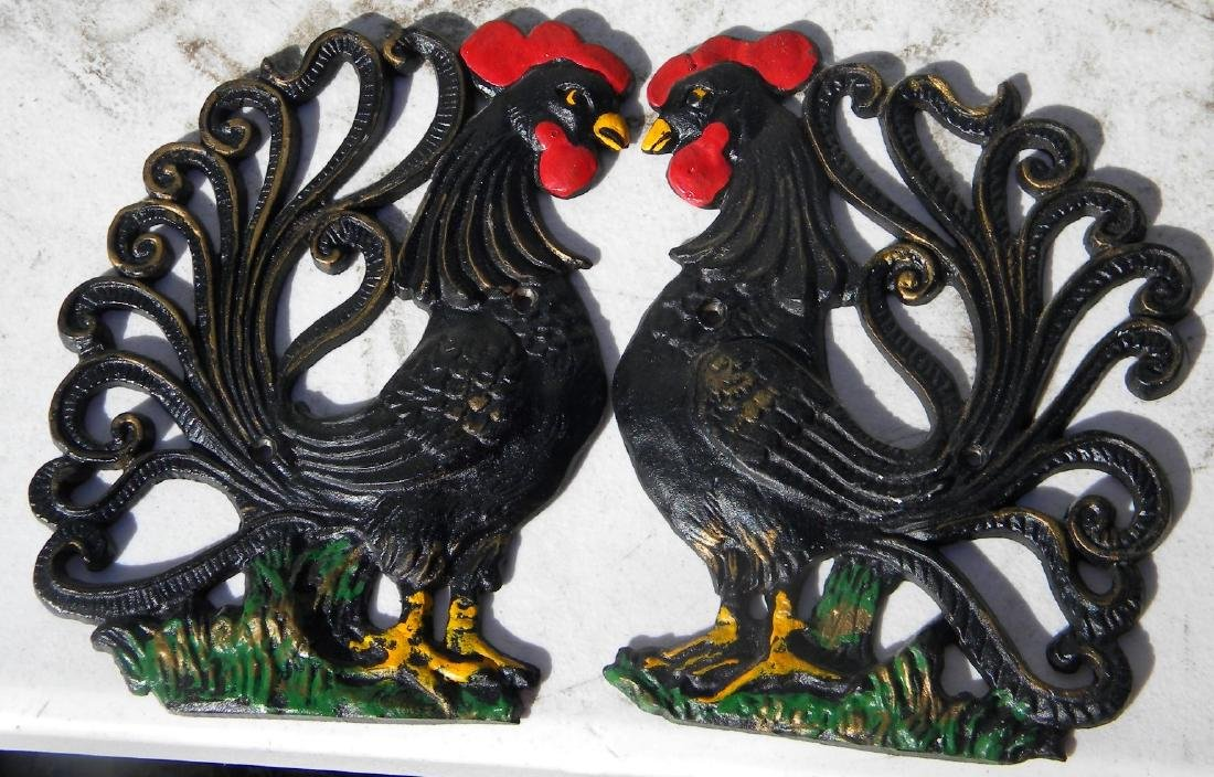 Pair of Iron Rooster Statues