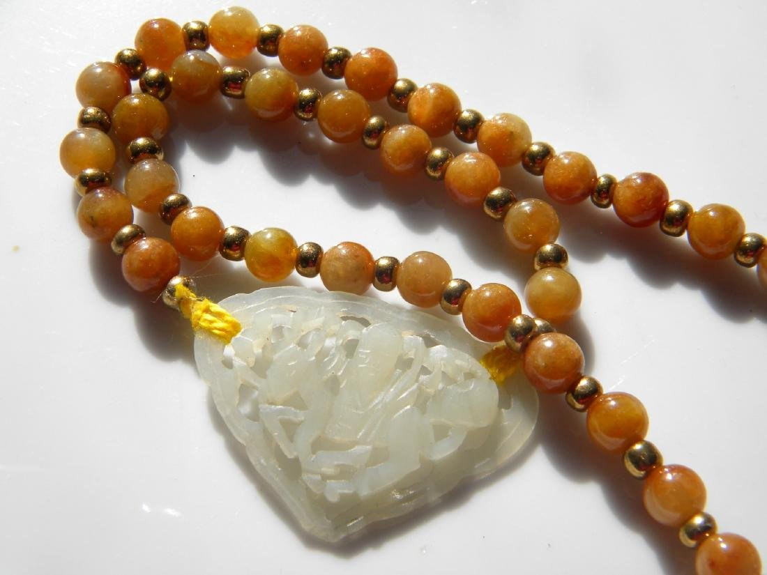 A NATURAL YELLOW JADEITE NECKLACE NEPHRITE WHITE  JADE