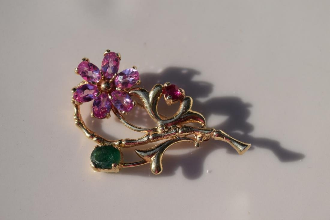 14K Gold Pink Saphire, Saphire and Ruby Brooch Pin