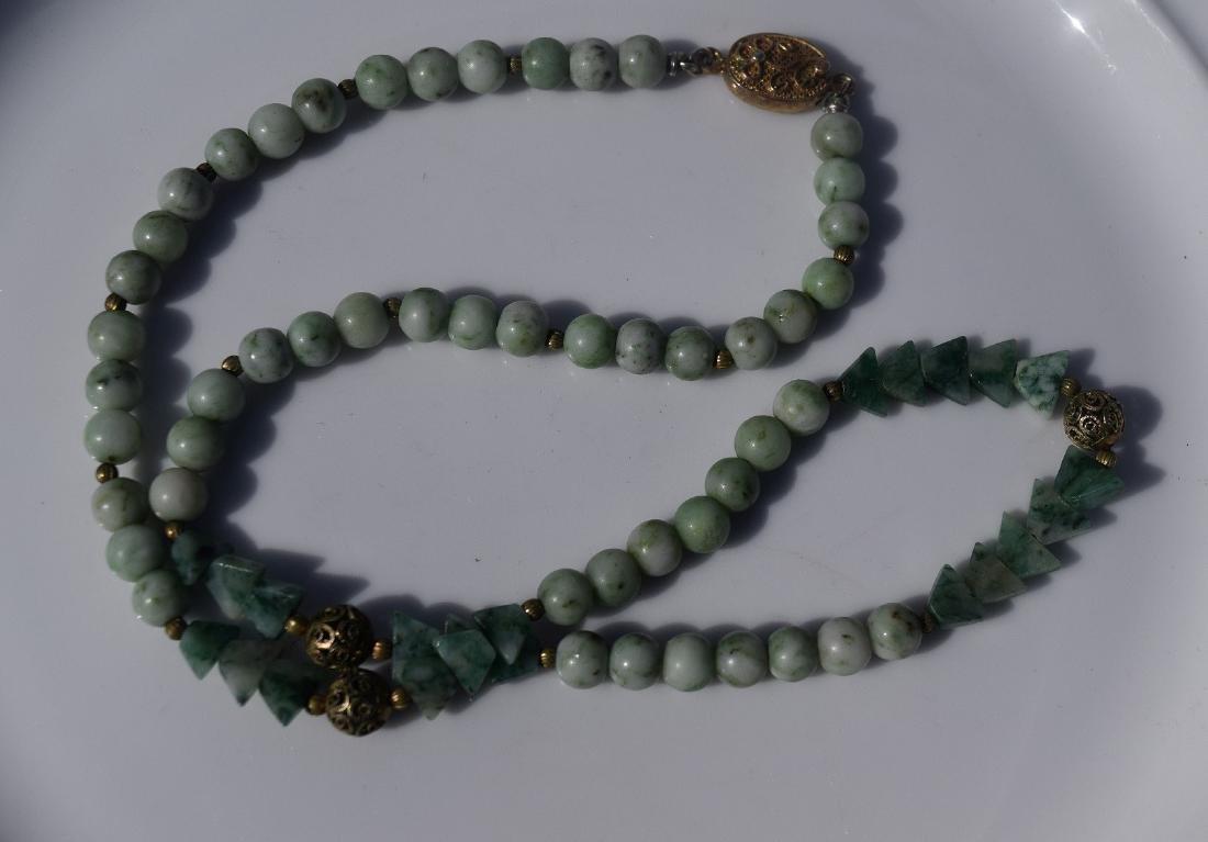 Antique Chinese Green Jadeite Necklace
