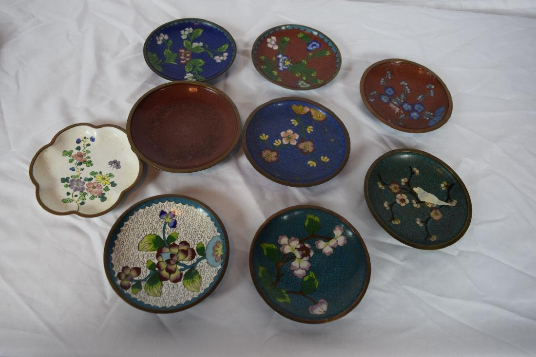 Group of Antique Chinese Cloisonne and Enamel Dishes