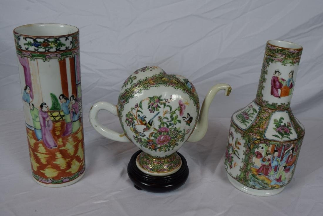 Three Antique Chinese Caton Famille Rose Vases and