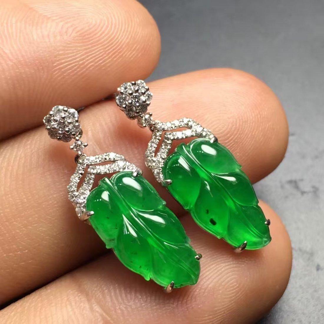Pair of 18K Gold Diamond Green Jadeite Earrings