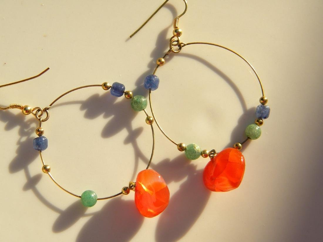 A Pair of Carnelian Heart Shape Earrings
