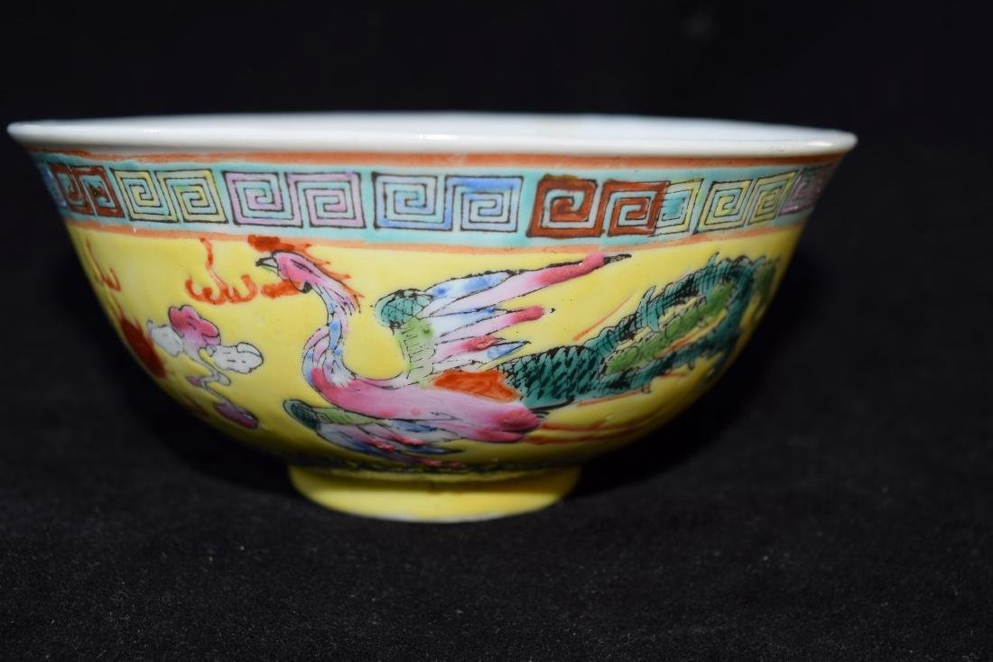 Antique Chinese Phoenix and Dragon Bowl