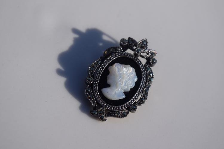 Vintage Sterling Silver Cameo Pendant and Pin