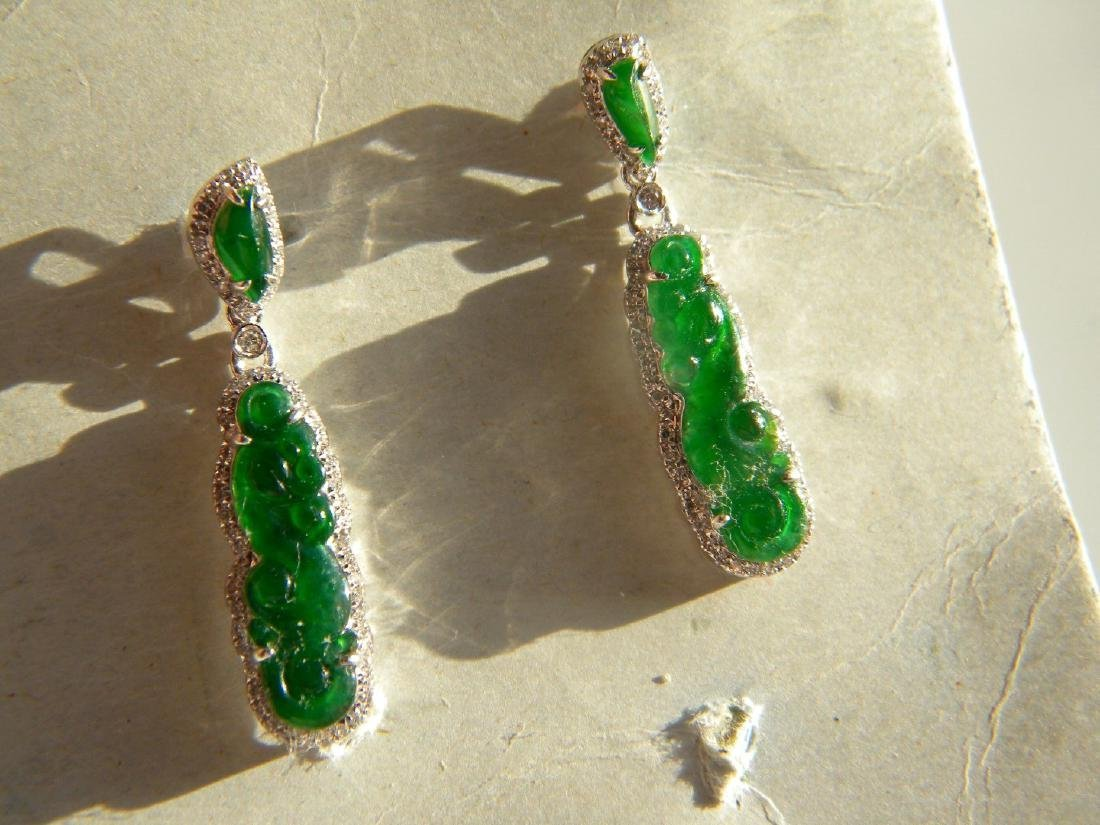 Pair of 18K Gold Diamond Jadeite Dragon Earrings