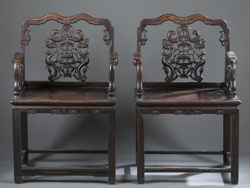 A pair of Chinese Hongmu chairs