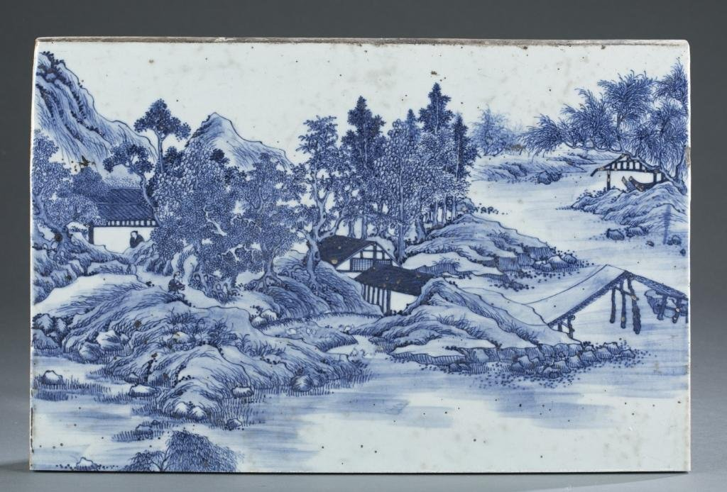 A blue and white painted porcelain panel Qing Dynasty