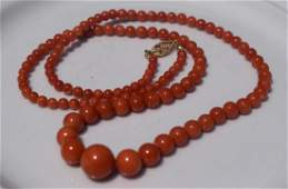 Antique Red Coral Bead Necklace 14K Gold Bale