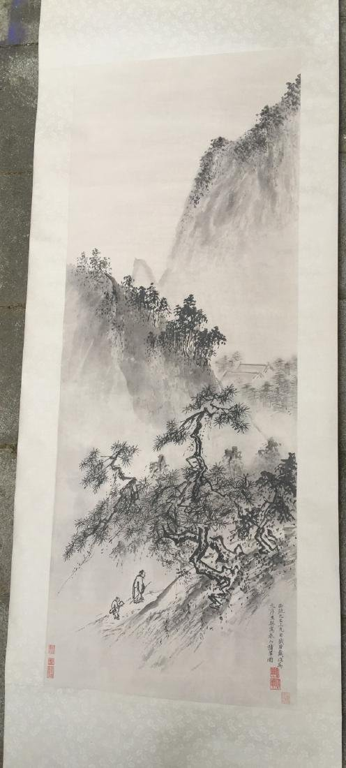 CHINESE SCROLL PAINTING Mountain Scene