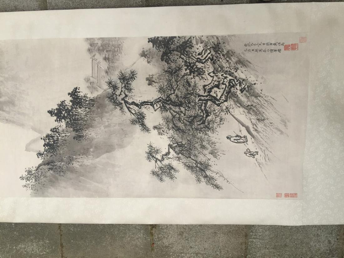CHINESE SCROLL PAINTING Mountain Scene - 4