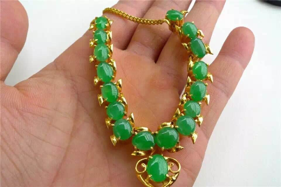 Natural Icy Green Jadeite Necklace