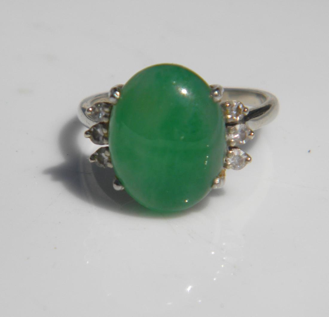 Antique Green Jadeite 14K Gold Diamond Ring