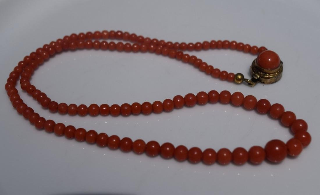 Antique Red Coral Beads Necklace