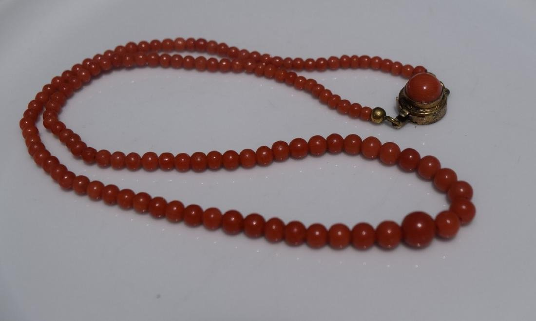 Antique Red Coral Beads Necklace - 2