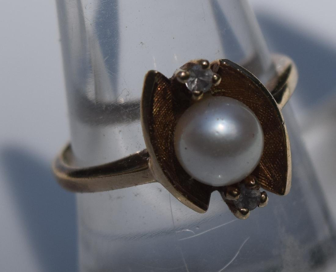 Antique 10K Gold Pearl Diamond Ring, Marked 10K - 2