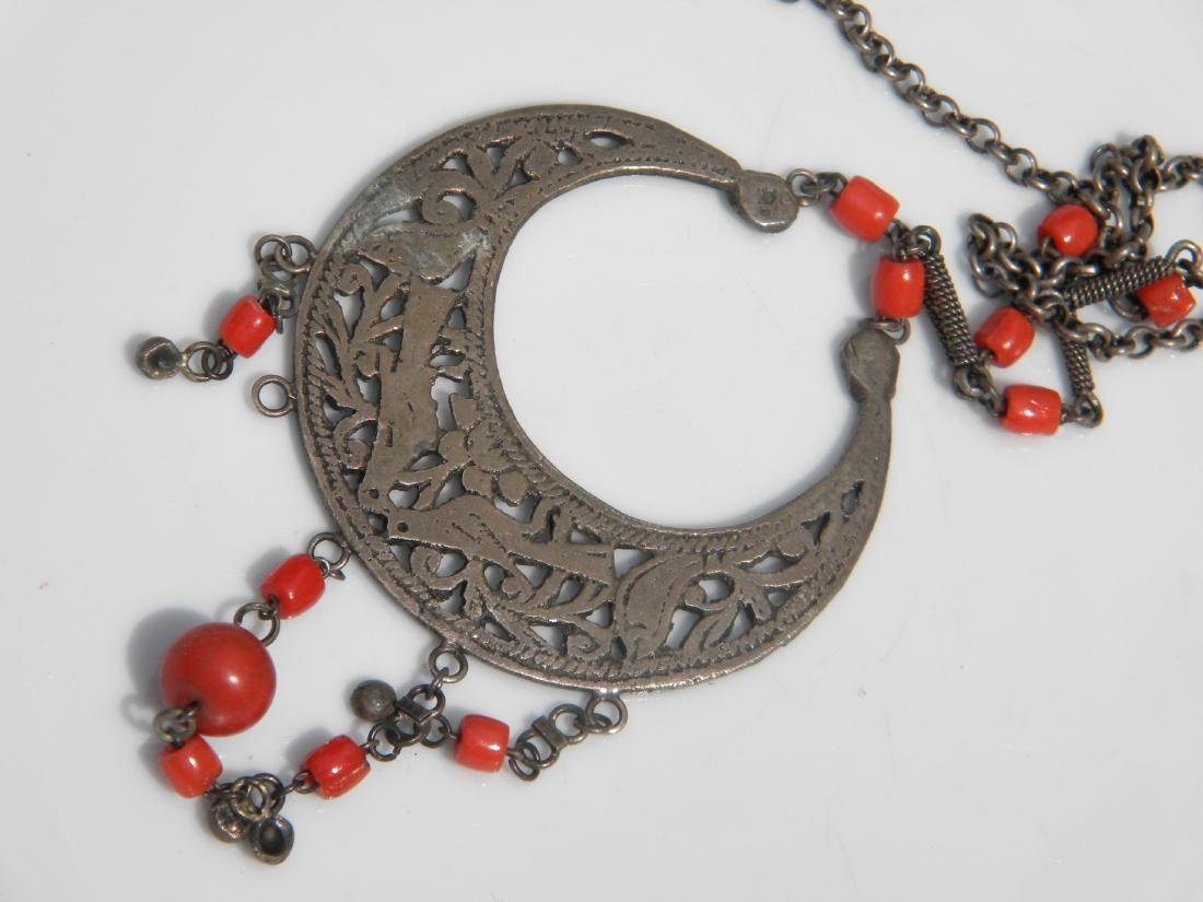 Antique Tibet Red Coral and Silver Necklace