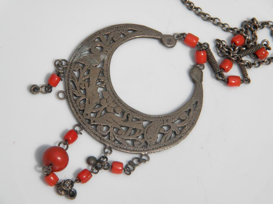 Antique Tibet Red Coral and Silver Necklace - 2