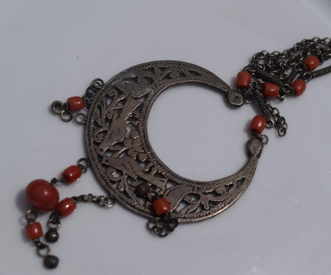 Antique Tibet Red Coral and Silver Necklace - 3