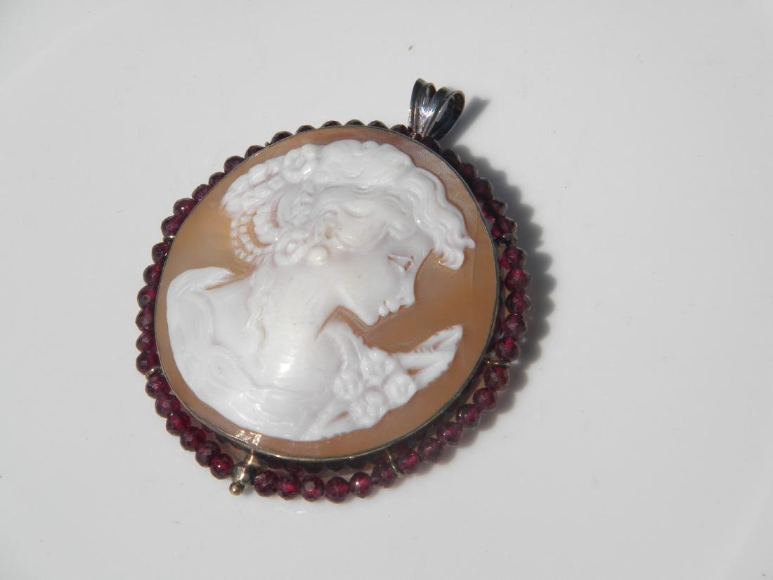 Vintage Cameo Pendant and Brooch Pin - 8