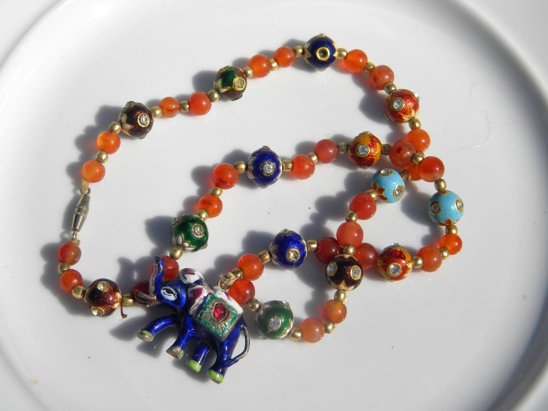 Vintage Enamel Elephant Pendant Necklace - 2