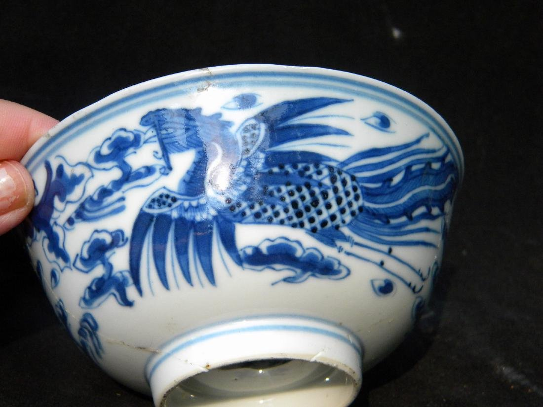 Antique Chinese Blue and White Pheonix Bowl